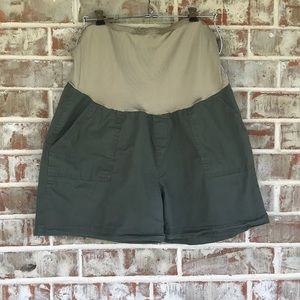 Rumor Has It Olive Cotton Trouser Maternity Shorts